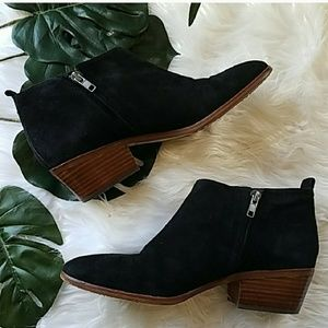J. Crew | Black Suede Ankle Booties Wood Block 9.5